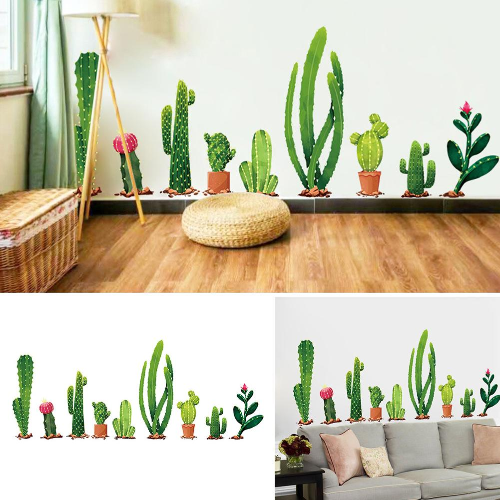 Wall Stickers 2pcs Fresh Cactus Green Plant Decal Mural Art Vinyl Decals Home Decor