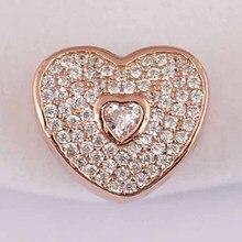 Authentique S925 argent perle bijoux à bricoler soi-même chérie breloque ajustement dame Bracelet Bracelet pavé Rose et clair CZ
