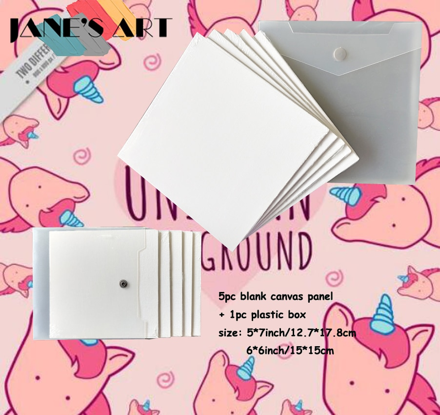 Painting Sets Canvas Boards 6x6/5x7inch With A Box For Oil And Acrylic White Cotton Suit