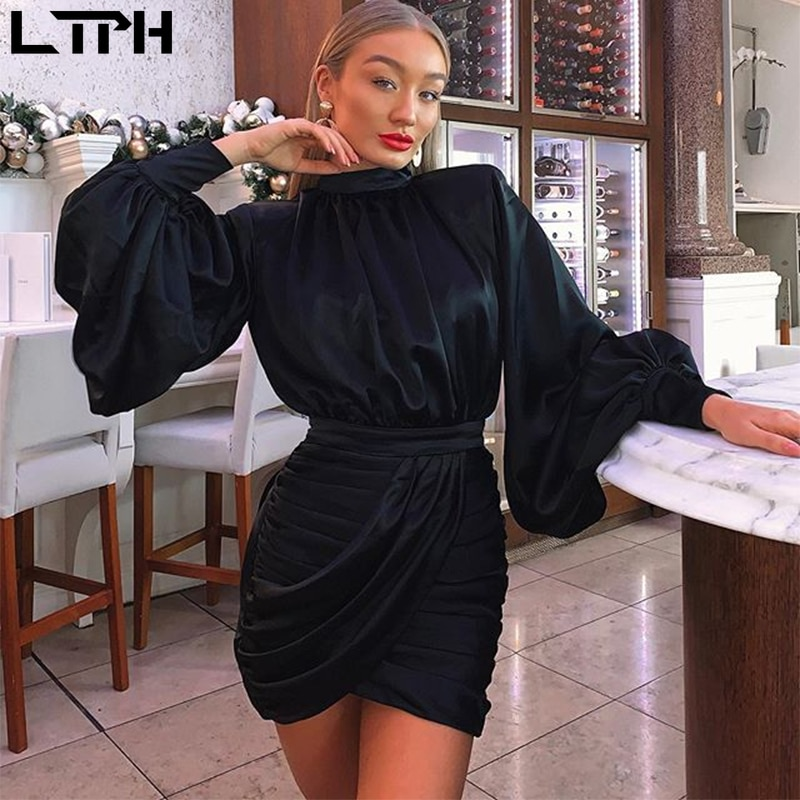 Hot sale2020 Autumn new women dress Solid Lantern sleeves high collar Sexy bag hip waist pleated slim wild Straight mini dresses