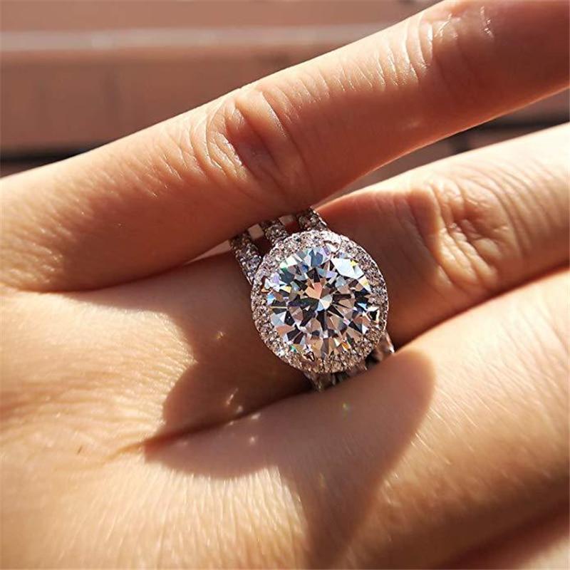 Silver 925 Jewelry Round Diamond Ring for Women Classic Eight 2 Carat Diamond Ring silver 925 jewelry pure Gemstone Bizuteria
