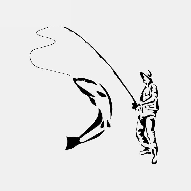 Автомобильные наклейки Fun Go Рыбалка Рыбак ПВХ украшение автомобиля наклейки креативный водонепроницаемый чехол царапины черный/белый, 16 см...