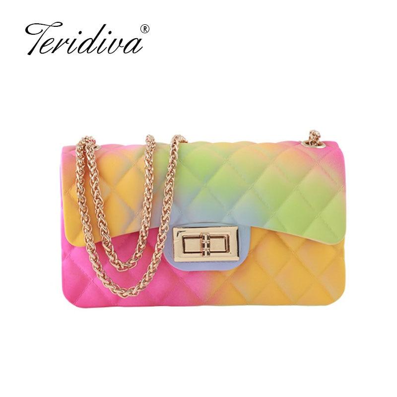 Summer Designer Brand Rainbow Handbag 2020 New Shoulder Slung Version Small Fragrance V-line Chain Color Jelly Crossbody Bags