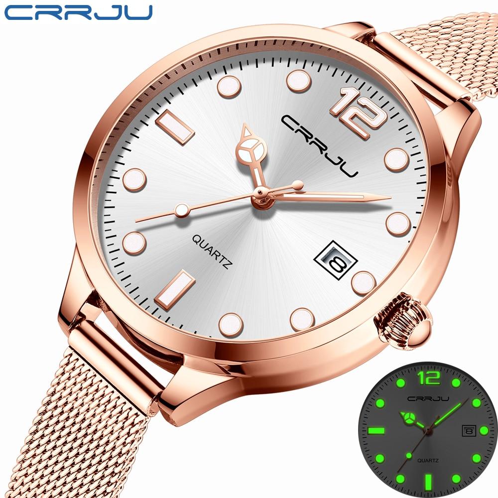 CRRJU 2021 Ladies Wrist Watches Dress Gold Watch Women Crystal Diamond Watches Stainless Steel Silve