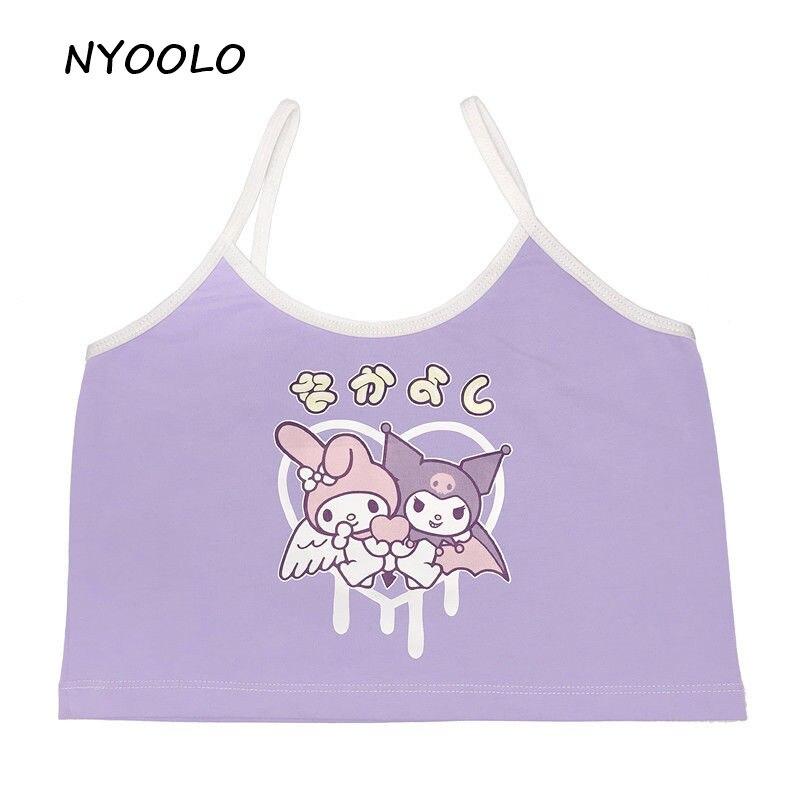 NYOOLO moda Harajuku japonesa estampado de dibujos animados Tops ajustados ropa de las mujeres 2020 verano Sexy corto Crop Tops Camisloe Camisetas Mujer
