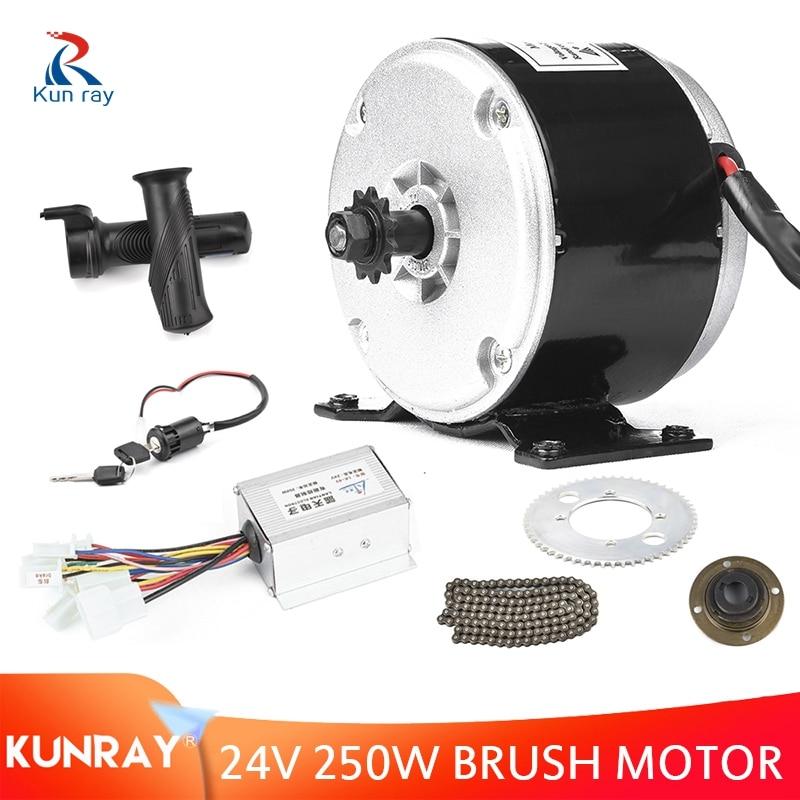 Kit de Motor cepillado de 250W y 24V CC, controlador de 24V, Kit de conversión de Bicicleta eléctrica, 65 dientes