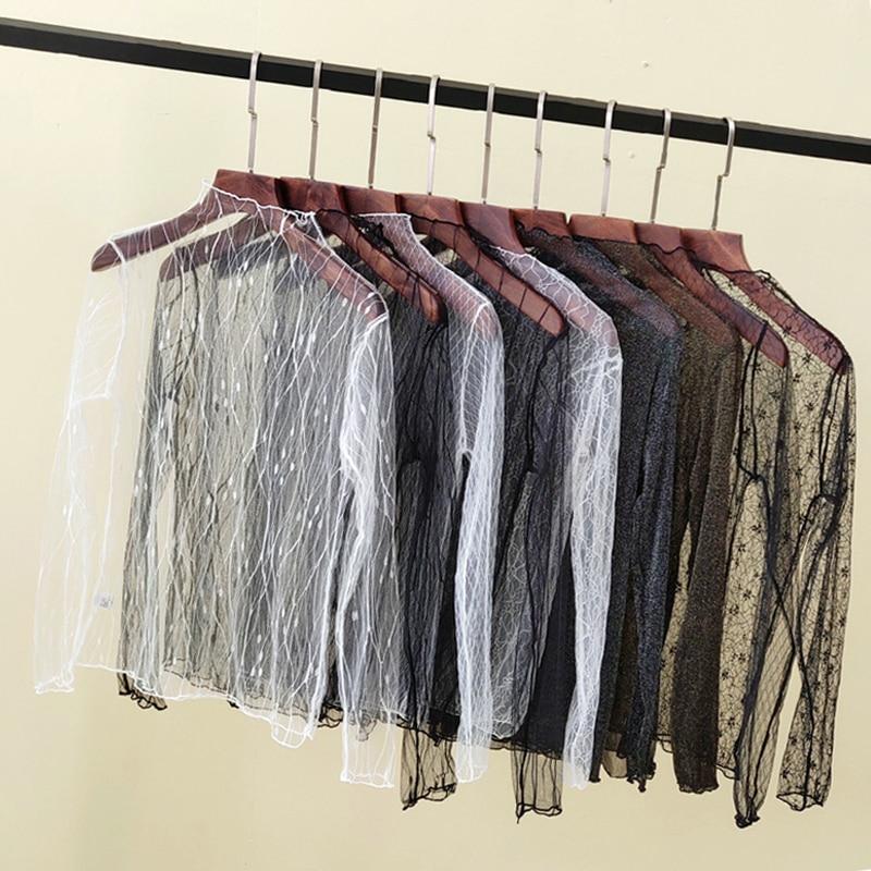 see through mesh top women fishnet transparent top sexy shirt ladies turtleneck white t shirt women tshirt black women top femme