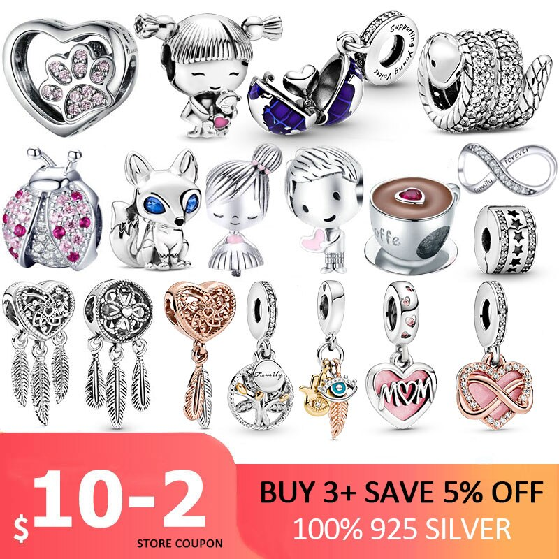 100% 925 Sterling SILVER charms Paw Footprints Beads Cat Love Heart Charms fit Original Pan Bracelet