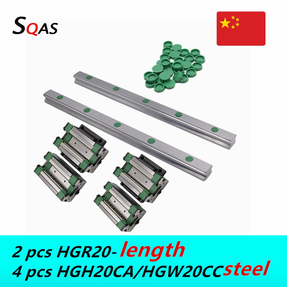 Entrega rápida 2 uds CNC guía lineal carriles lineales HGR20 + 4 Uds acero HGH20CA /HGW20CC coches de acero bloques diapositivas para CNC