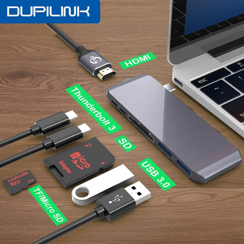 Dupilink 7 em 1 tipo c para hdmi hub 4k usb c doca thunderbolt 3 pd 100w sd/tf ype-c hub para macbook samsung dex s10/s9/s8 huawei