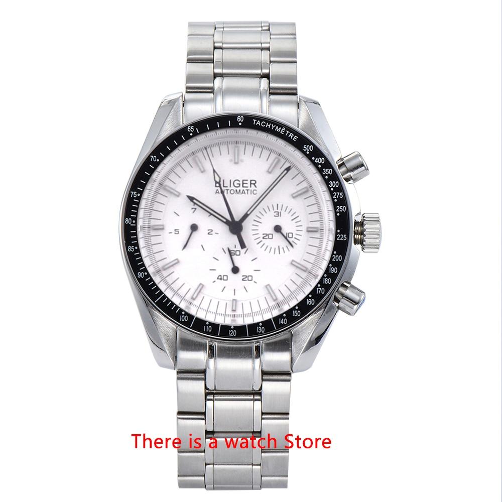 Bliger-ساعة يد رجالية من الفولاذ المقاوم للصدأ ، سوار ساعة 40 مللي متر ، التاريخ والأسبوع ، وظيفة مضيئة ، ميكانيكية ، أوتوماتيكية ، رياضية