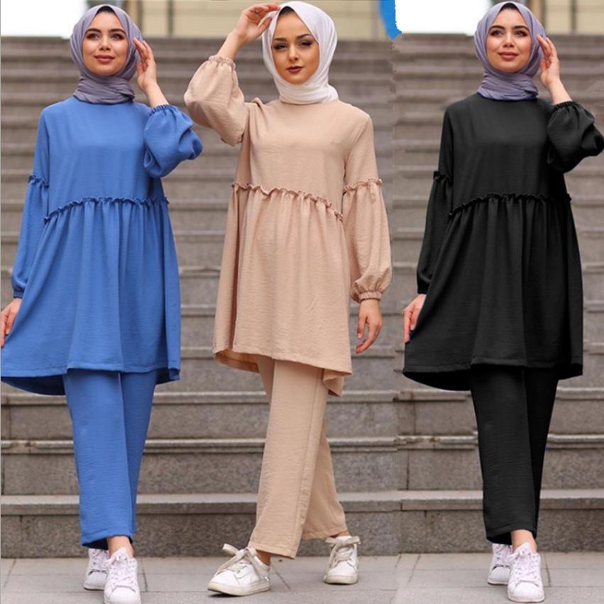 2 Pieces muslim suits smooth Muslim sets female Kaftan Islamic Clothing Grote Maten Dames Kleding Ensemble Femme Musulmane F1780