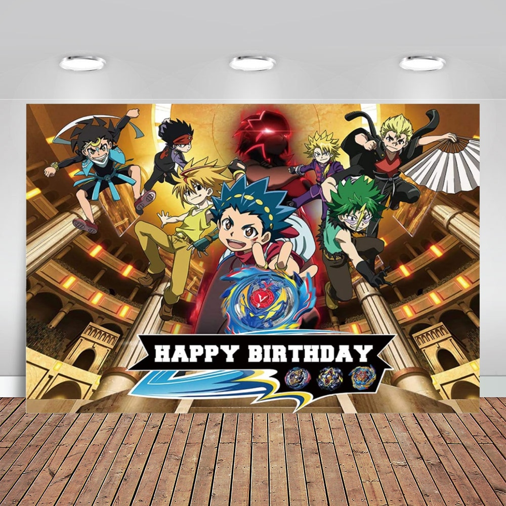 Beyblade Photography Backdrop for Boys Battle Game Party Happy Birthday Party Supplies Photo Background Cake Table Photo Studio