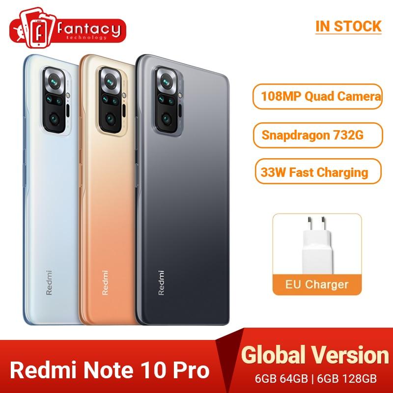 Versión Global Xiaomi Redmi Note 10 Pro Snapdragon 732G Smartphone108MP Quad Cámara...