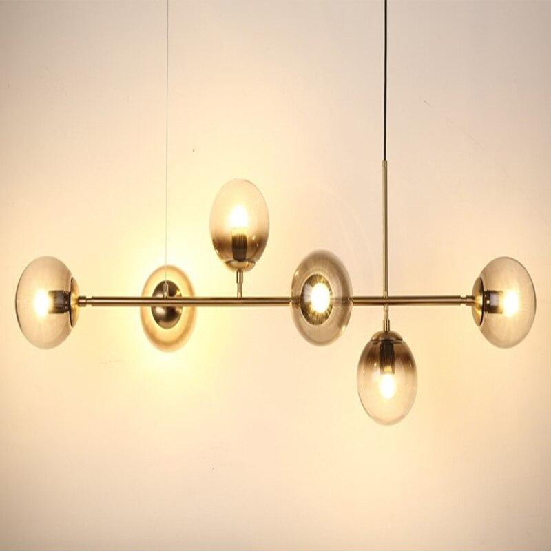 Moderno led lustre de iluminação led para barra de cozinha lustre longo design led preto loft bola vidro pendurado luminária