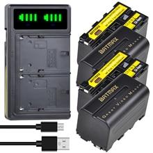 4Pc 5200mAh NP-F750 NP-F770 Li-ion Battery + LCD Dual USB Charger for Yongnuo YN300 III YN-300 III C