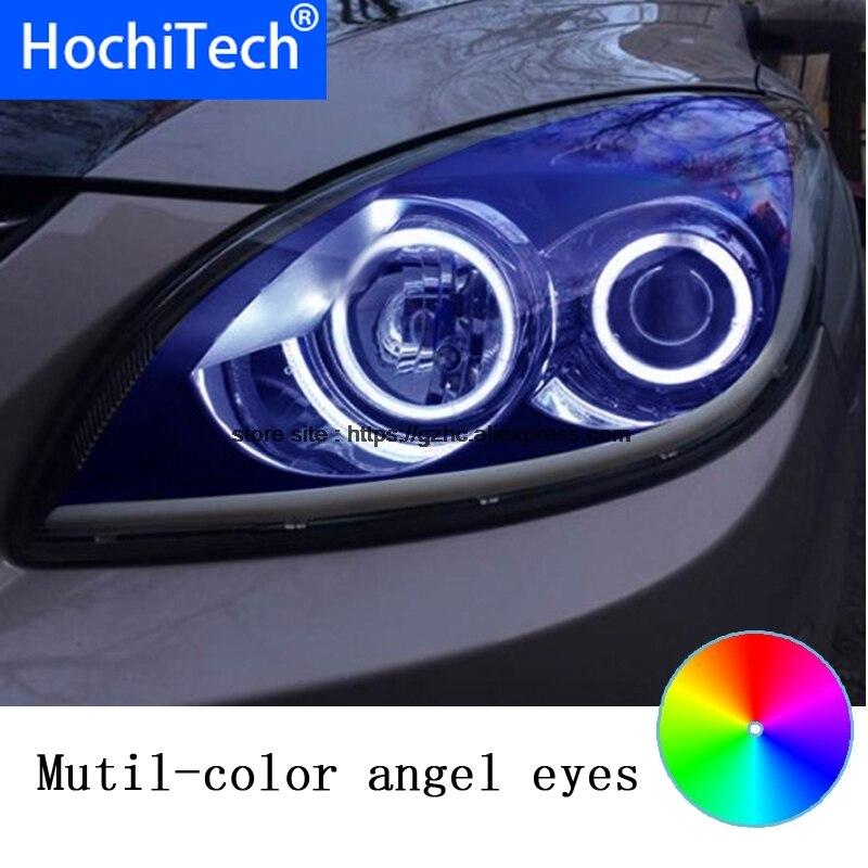 HochiTech para Hyundai i30 2008-2011 diseño de coche RGB LED Demon Angel Eyes Kit Halo anillo de luz de día DRL con control remoto