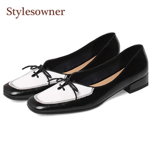 2021 spring and summer new retro leather shoes women's color matching bow tie low-heel single shoes square toe flat peas shoes