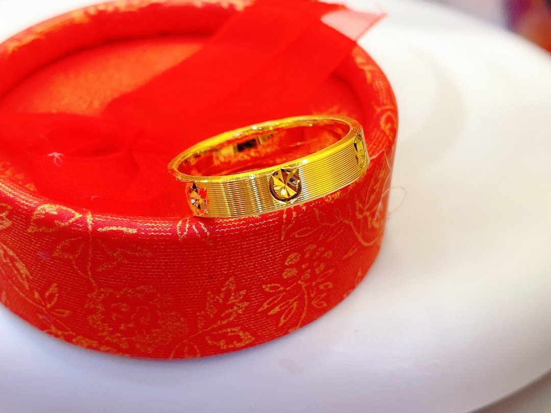 HX-خاتم من الذهب الخالص عيار 24 قيراط ، ذهب عيار 999 ، صلب ، أنيق ، لامع ، قلب ، مجوهرات راقية ، عرض خاص ، جديد ، 2020