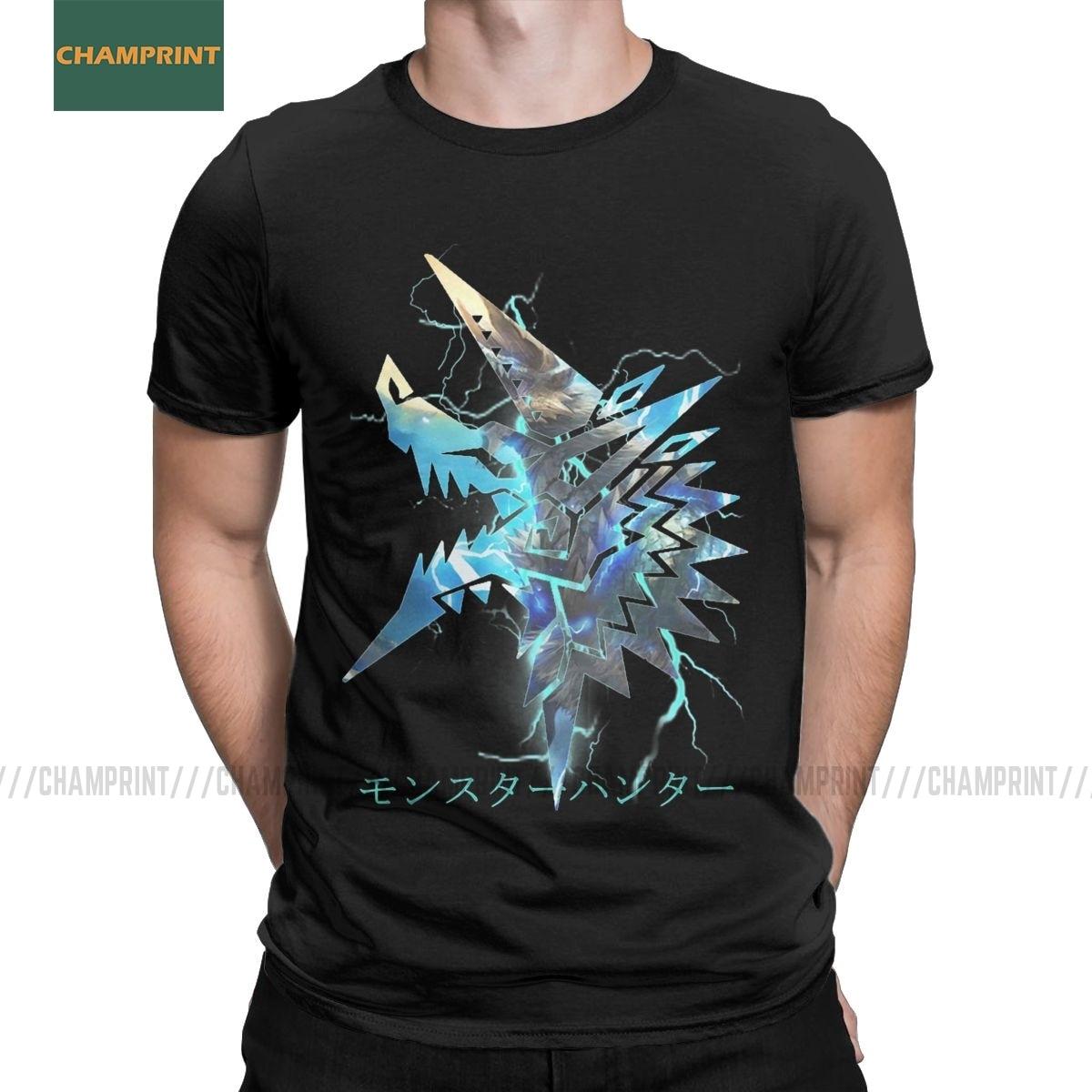 Zinogre Monster Hunter World camisetas de algodón Vintage para hombres, camisetas de juego de dragón de Rathian MHW, camisetas de manga corta