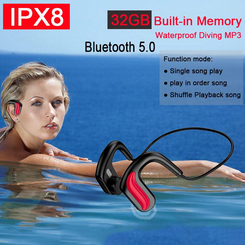 2021New IPX8 Waterproof MP3 Music Player 32GB Built-in Memory Swimming Diving Earphone Bone Conducti