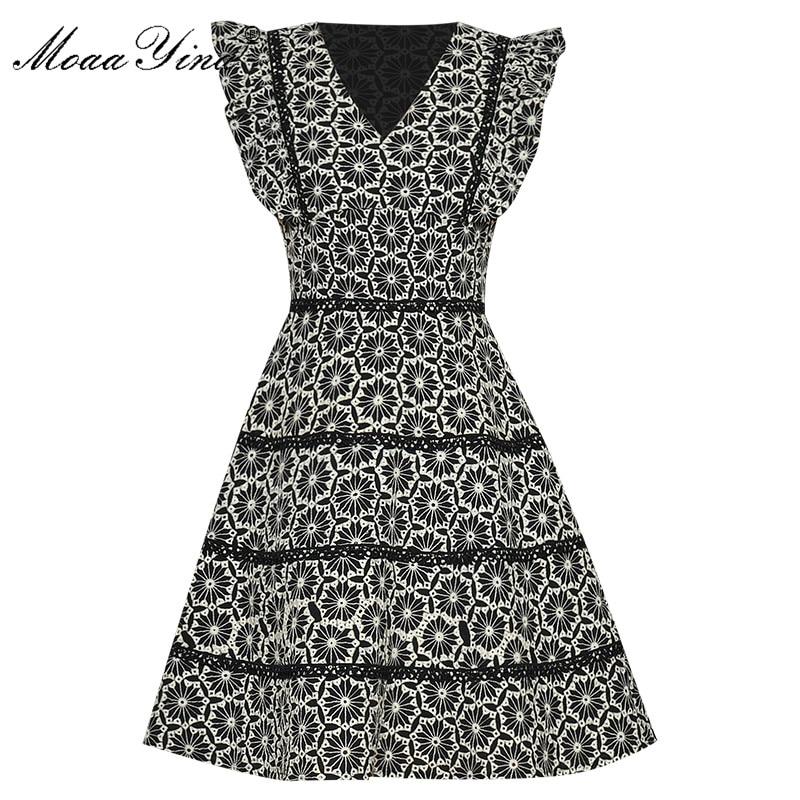 Moaayina moda designer vestido de verão vestido feminino manga curta com decote em v borboleta manga bordado vestidos