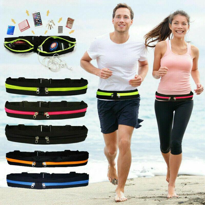 Nuevo doble bolsillo Runner cinturón bolsa de deporte para correr gimnasio Fitness Casual impermeable ajustable Unisex bolsa de cintura