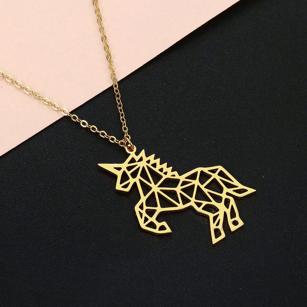 Cxwind aço inoxidável cavalo colares unicórnio charme pingente colar jóias para mulheres meninas festa presente jóias dropshipping