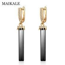MAIKALE Black White Ceramic Long Earrings Crown Earrings for Women New Fashion Cubic Zirconia Gold  CZ Drop Earings Gifts