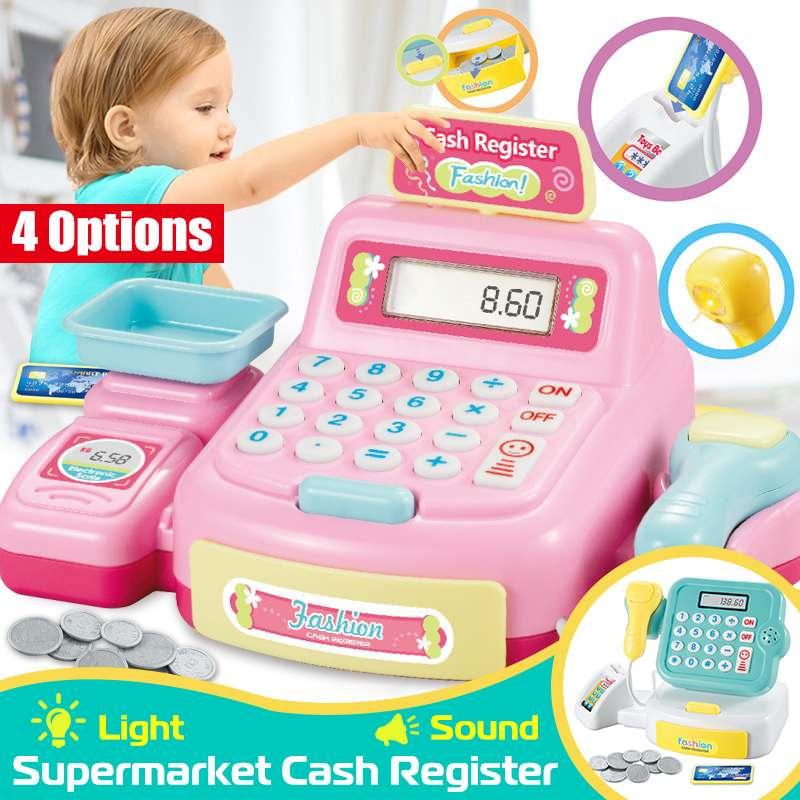 Kids Pretend Toys Simulation Supermarket Cash Register  Cashier Role Play Shopping Game Set with Scanner/ Weighing Platform
