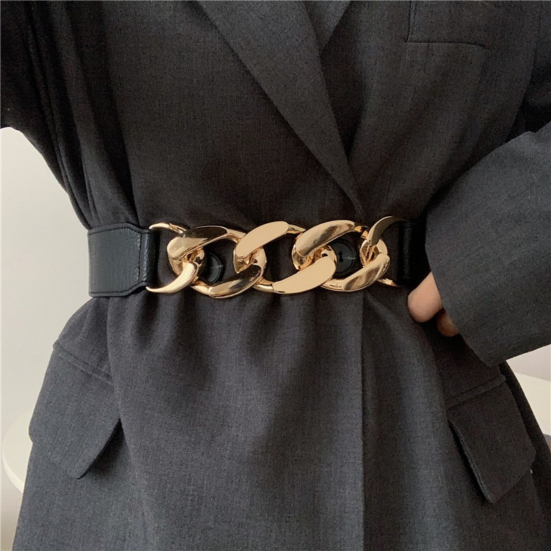 Gold chain belt elastic silver metal waist belts for women high quality stretch cummerbunds ladies c