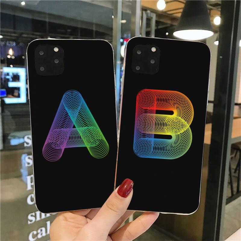 Elegante personalidade alfabeto padrão macio preto caso de telefone para iphone 11 pro xs max 8 7 6 s plus x 5S se 2020 xr capa