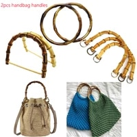2pcs diy women handbags handles lady imitation bamboo handcrafted handle bags accessories purse durable luggage ornament handle