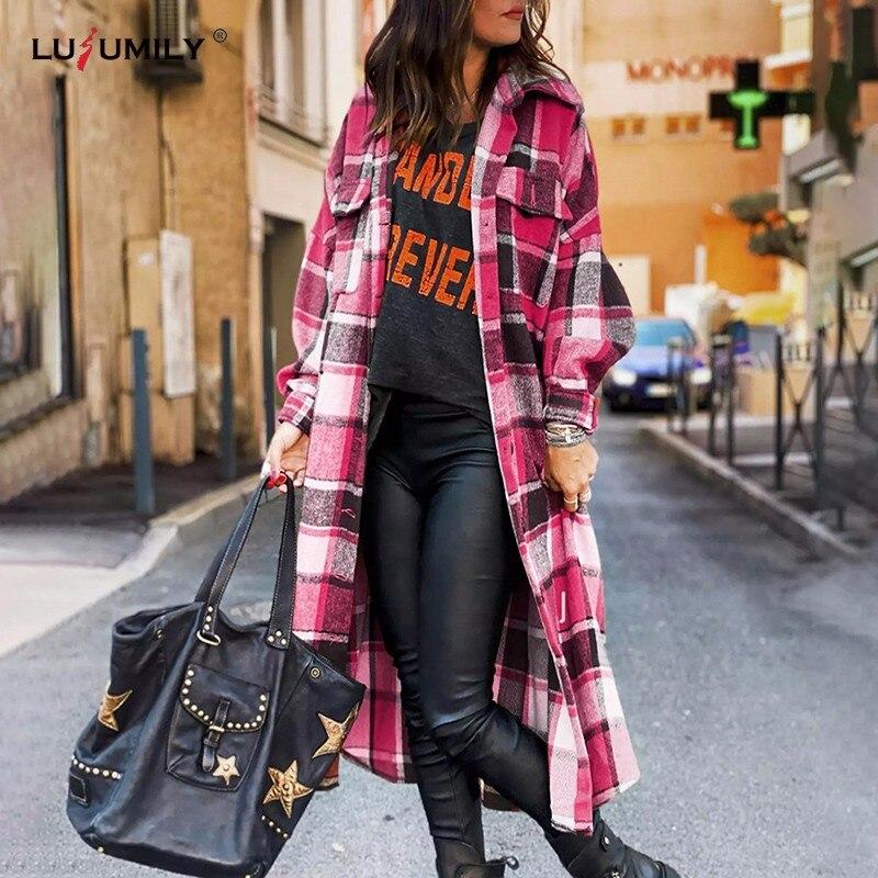 Повседневная Длинная клетчатая рубашка Lusumily, Женская куртка, весеннее теплое шерстяное пальто, уличная одежда, женская модная одежда, свободная блузка, верхняя одежда