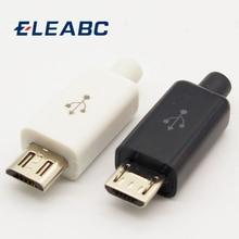 10Pcs Micro Usb 5PIN Lassen Type Male Plug Connectors Lader 5P Usb Staart Opladen Socket 4 In 1 wit Zwart