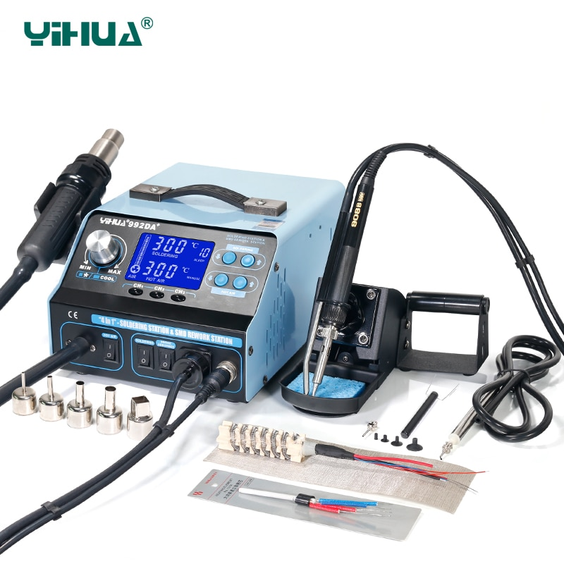 YIHUA-992DA محطة لحام مع شاشة LCD ، لحام بالتفريغ ، قلم لحام BGA ، محطة لحام
