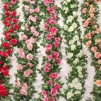 Zerolife     guirlande de roses artificielles  decoration murale pour la maison  fausses fleurs  vigne  lierre  noel