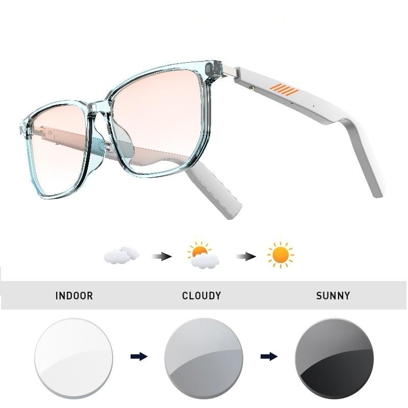 Bluetooth 5.0 smart glasses intelligente  Eyewear TWS music headset can be customized prescription lens photochromic lens