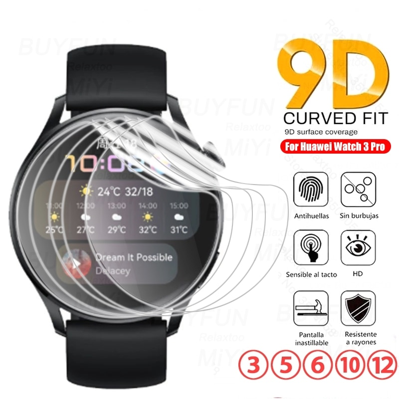 3-12PCS 9D Curved Hydrogel Film For Huawei Watch 3 Pro Smartwatch Screen Protector Not Glass On Hauw