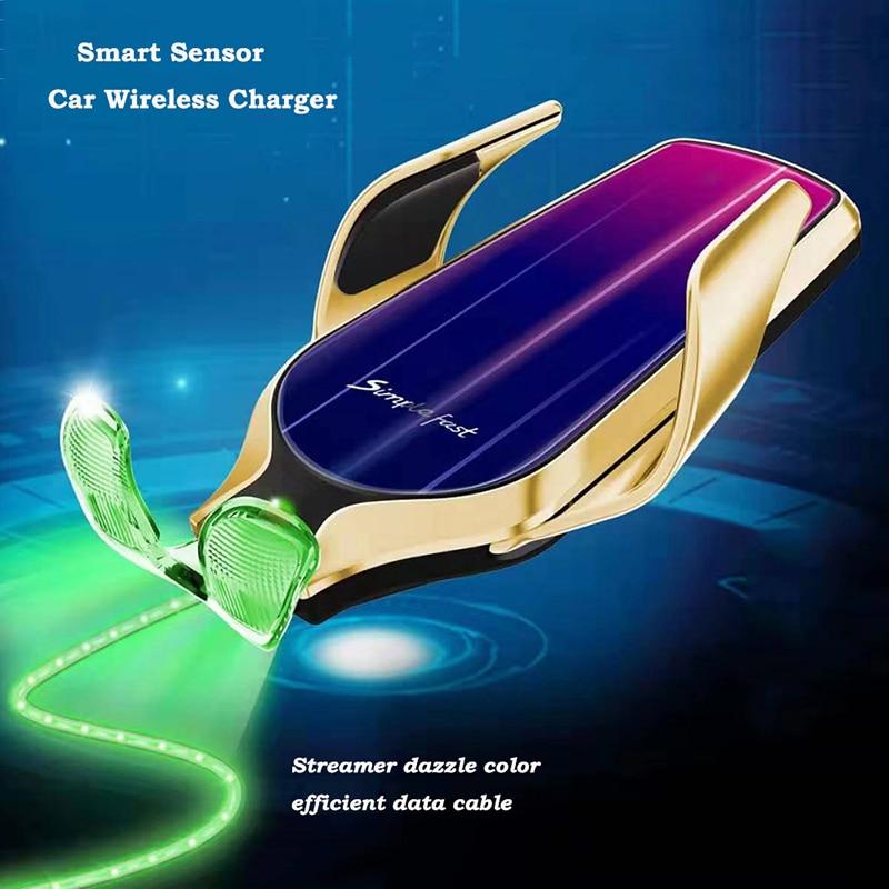KISSCASE soporte de teléfono para coche R9 soporte Universal de salida de aire de coche inducción infrarroja 10W cargador inalámbrico soporte de teléfono