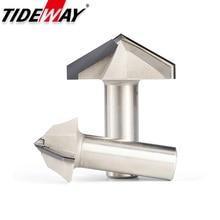 "Tideway 1 Pc 1/2 ""Shank Diamant Cvd Coating V Type Router Bit Voor Hout Endmill Houtbewerking Cutter Pcd Frezen cutter Cnc Bits"