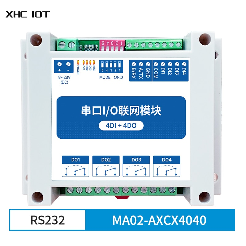 4DI + 4DO Modbus RTU Industrial Grade Serial Port I/O Networking Module RS232 MA02-AXCX4040 XHCIOT Data Acquisition Monitoring 8 way analog data acquisition input 6 relay output 220vac modbus rtu module serial port 485