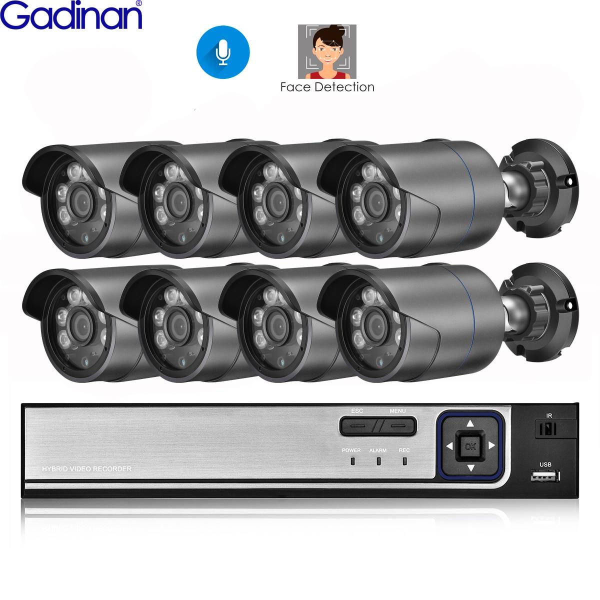 نظام أمن الفيديو من الأداة inan 4CH 8CH POE بدقة 4 ميجابكسل 5 ميجابكسل صوت خارجي مانع لتسرب الماء والرؤية الليلية كاميرا IP مجموعة كاميرات مراقبة الشو...