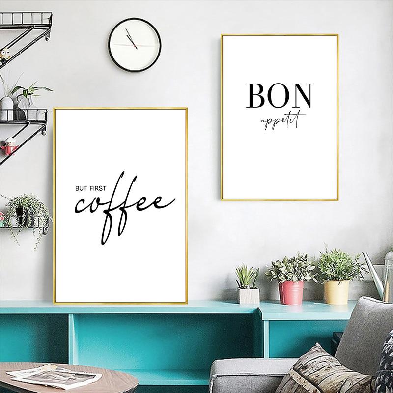 Cita de café, arte de pared, imagen de cocina en blanco y negro, póster, lienzo de pintura, impresiones de pared artística moderna HD2806