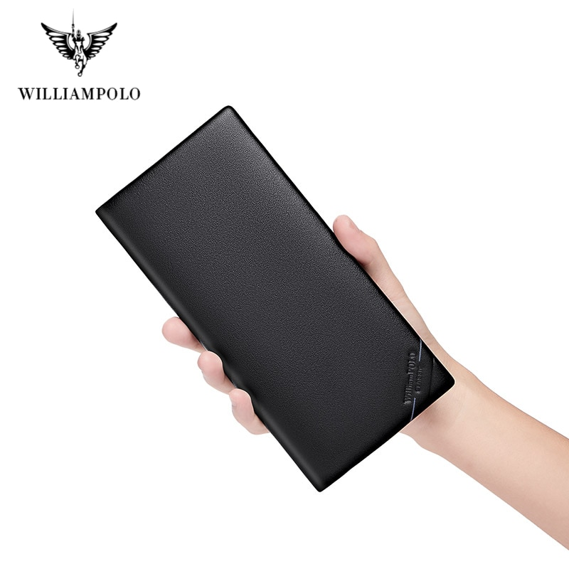 WilliamPOLO Genuine Leather Men's Wallet RFID Blocking Long Purse Coin Case Passport Cover Wallets For Men Credit Card Holder