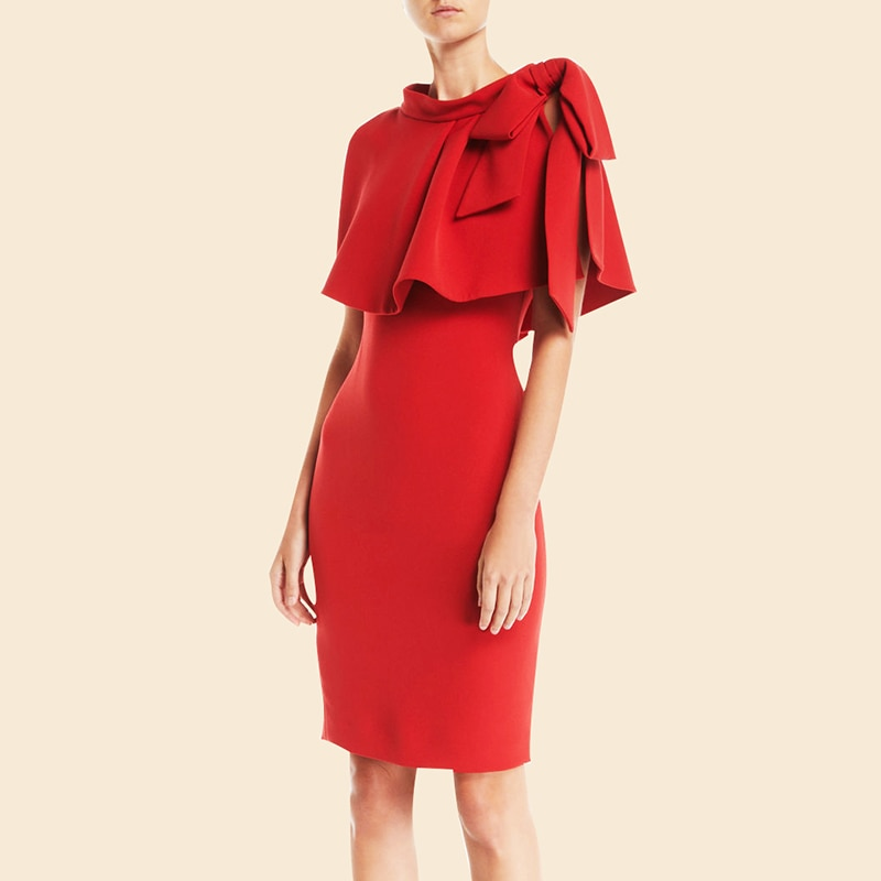Vestido elegante de diseñador de pasarela de lujo para mujer, vestido rojo y negro, Vestidos de tubo ajustados, Vestidos formales de fiesta de boda para mujer