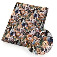 polyester cotton fabric cartoon dog animals printed cloth sheet diy mask dress supplies handmade craft home textile 45145cm 1pc