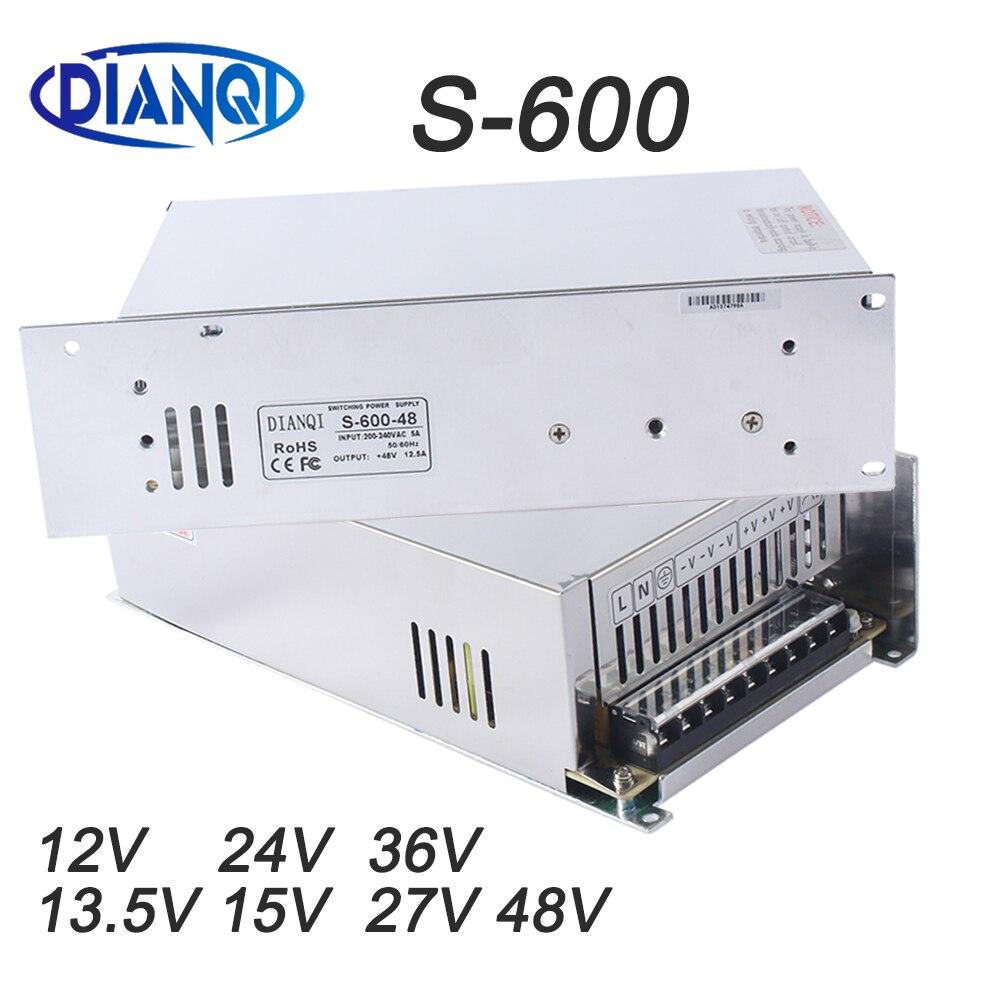DIANQI تحويل التيار الكهربائي للقطاع بقيادة ضوء S-600W 12 V 13.5 V 15 V 24 V 27 V 36 V 48 V ac dc تحويل إخراج واحدة S-600-15