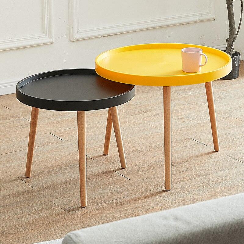 Estilo nórdico simples pequena mesa de centro de madeira maciça redonda simples mesa lateral pequeno apartamento móveis da sala estar