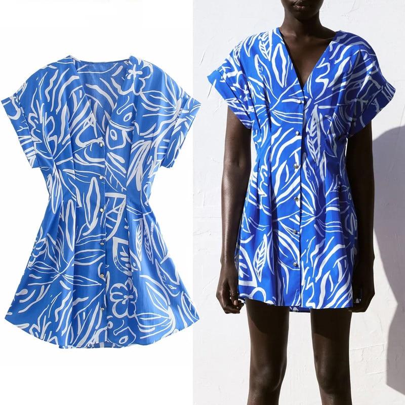 Women Summer Dresses Blue Pleated Short Woman Dresses 2021 Short Sleeve Mini Dress Women Fitted Waist Casual Dress